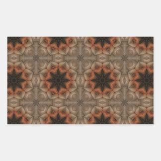Mandala Pattern in Brown and Orange Rectangular Sticker
