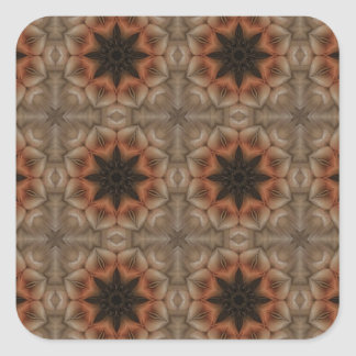 Mandala Pattern in Brown and Orange Square Sticker