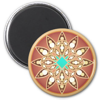 Mandala pattern in caramel and chocolate magnet