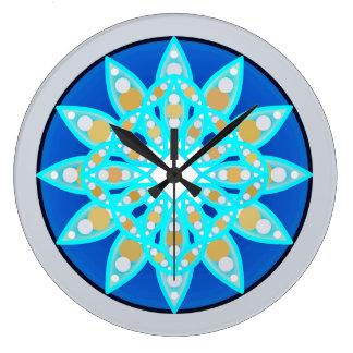 Mandala pattern in cobalt, grey and turquoise clocks