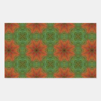 Mandala Pattern in Green and Orange Rectangular Sticker