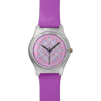 Mandala pattern in lavender and orchid watch