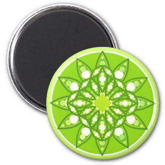 Mandala pattern in shades of lime green 6 cm round magnet