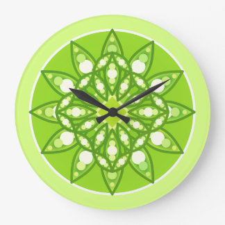 Mandala pattern in shades of lime green large clock