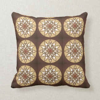 Mandala pattern in tan and chocolate brown throw pillow