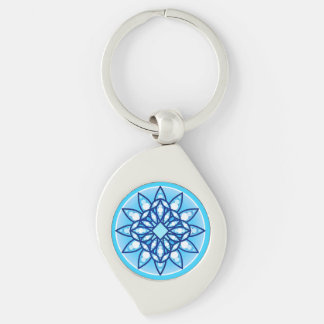 Mandala pattern in turquoise, cobalt & white keychains