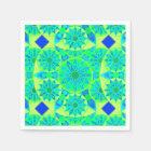 Mandala pattern, turquoise, blue, lime green disposable serviette