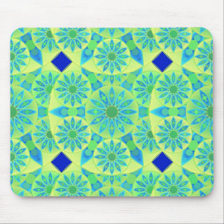 Mandala pattern, turquoise, blue, lime green mousepads