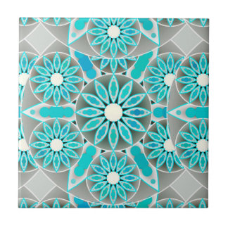 Mandala pattern, turquoise, silver grey and white ceramic tile