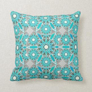 Mandala pattern, turquoise, silver grey and white cushion