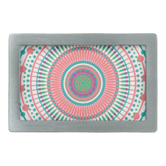 MANDALA PEACH MINT RECTANGULAR BELT BUCKLES