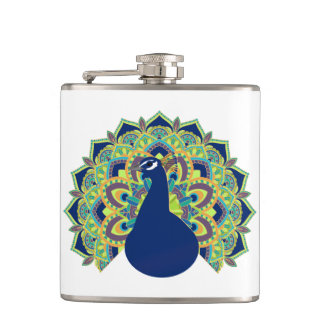 Mandala Peacock Hip Flask