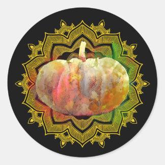 Mandala Pumpkin Watercolor Damask Fall Season Classic Round Sticker