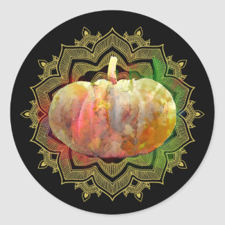 Mandala Pumpkin Watercolor Damask Halloween Classic Round Sticker
