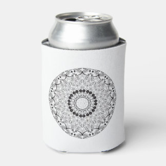 Mandala. Round black and white oriental pattern Can Cooler