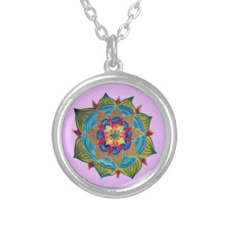 Mandala Silver Plated Round Necklace