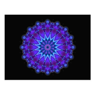 Mandala star in blue | black postcard