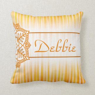 Mandala & Stripes Sunny Gold Design Cushion