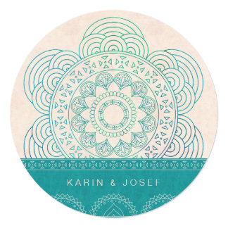 Mandala Summer Garden Chic Turquoise Wedding 13 Cm X 13 Cm Square Invitation Card