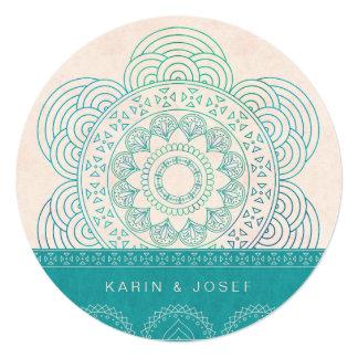 Mandala Summer Garden Chic Turquoise Wedding 13 Cm X 13 Cm Square Invitation Card
