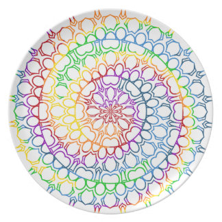 Mandala Swirled with Circles and Rainbow Colors Plate