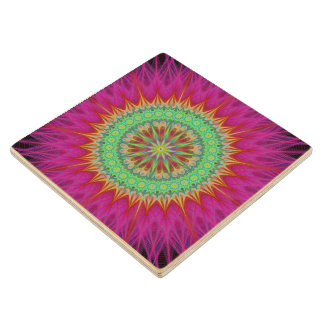 Mandala symbol wood coaster