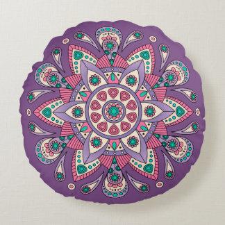Mandala Tiga Original Purple Round Cushion