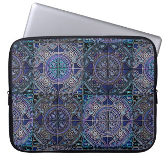 MANDALA TILES CHECKERBOARD 3D delft blue Laptop Sleeve
