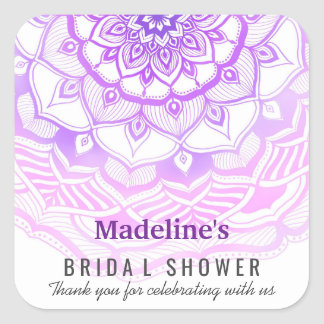 Mandala Watercolor Purple Rose Bridal Shower Favor Square Sticker