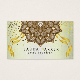 Mandala Yoga Teacher Lotus Embroidery Holistic Business Card
