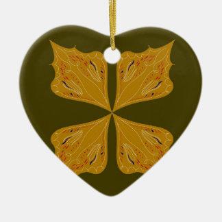 Mandalas gold on olive ceramic ornament