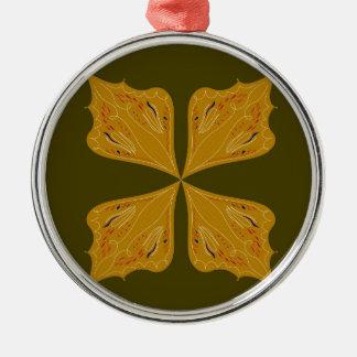 Mandalas gold on olive metal ornament