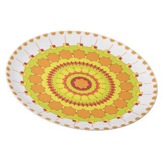 Mandalateller yellow-multicolored plate