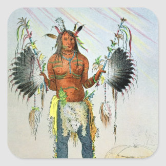 Mandan Medicine Man Square Sticker