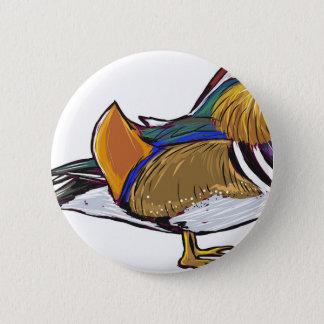 Mandarin Duck Sketch 6 Cm Round Badge