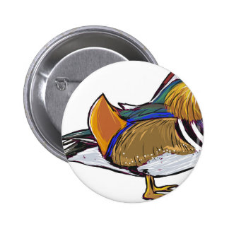 Mandarin Duck Sketch 6 Cm Round Badge