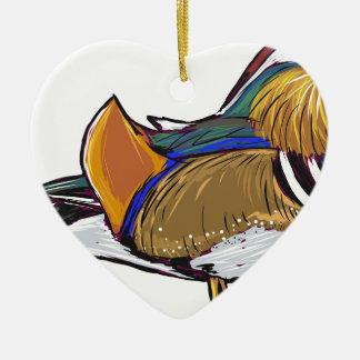 Mandarin Duck Sketch Ceramic Ornament