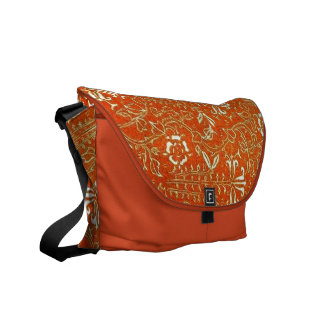 Mandarin Orange Floral Messenger Bag