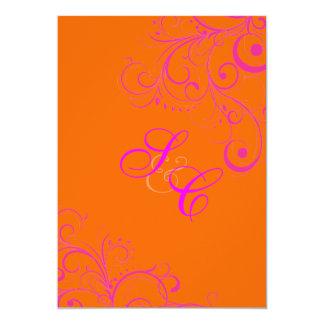Mandarin Orange + Hot PInk Ornamental Flourish Card
