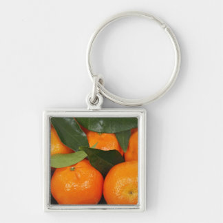 Mandarin Oranges Silver-Colored Square Key Ring