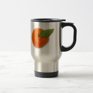 Mandarin with green leaf stainless steel travel mug