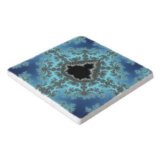 Mandelbrot Snowflake - baby blue fractal design Trivet