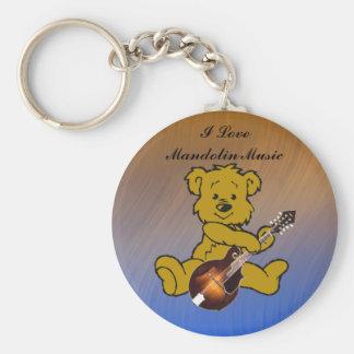 MANDOLIN BEAR-KEYCHAIN BASIC ROUND BUTTON KEY RING