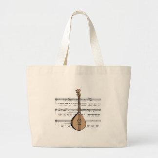 mandolin lute and sheet music large tote bag