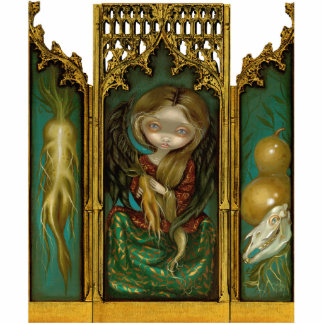 Mandragora gothic mandrake angel Triptych Standing Photo Sculpture