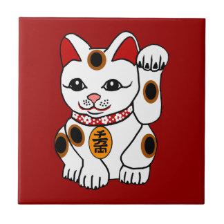 Maneki Neko Cat on Red Background Small Square Tile