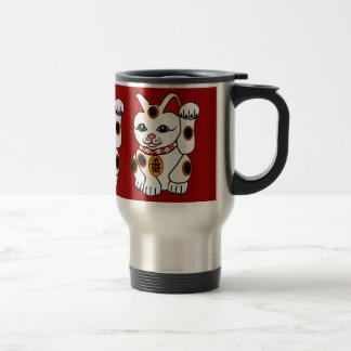 Maneki Neko Cat on Red Background Travel Mug