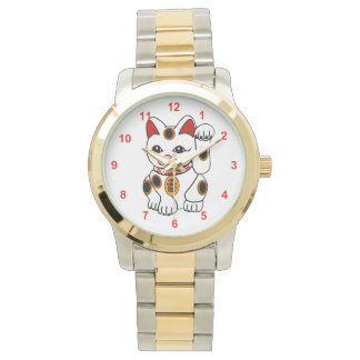 Maneki Neko Japanese Bobtail Calico Cat Watch