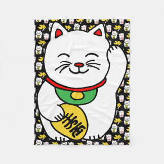 Maneki Neko Japanese Lucky Cat Good Fortune Cookie Fleece Blanket