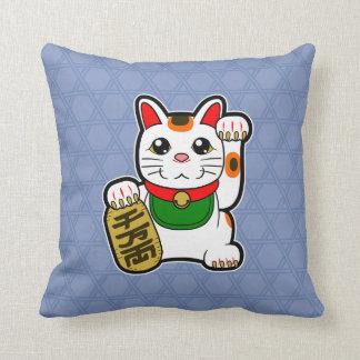 Maneki Neko: Japanese Lucky Cat Reversible Throw Pillow